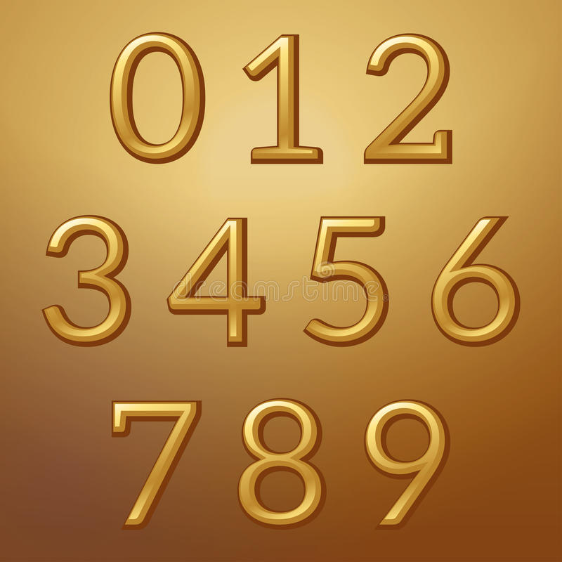 Złote wypukłe kruszcowe liczby na złotym tle ilustracja wektor