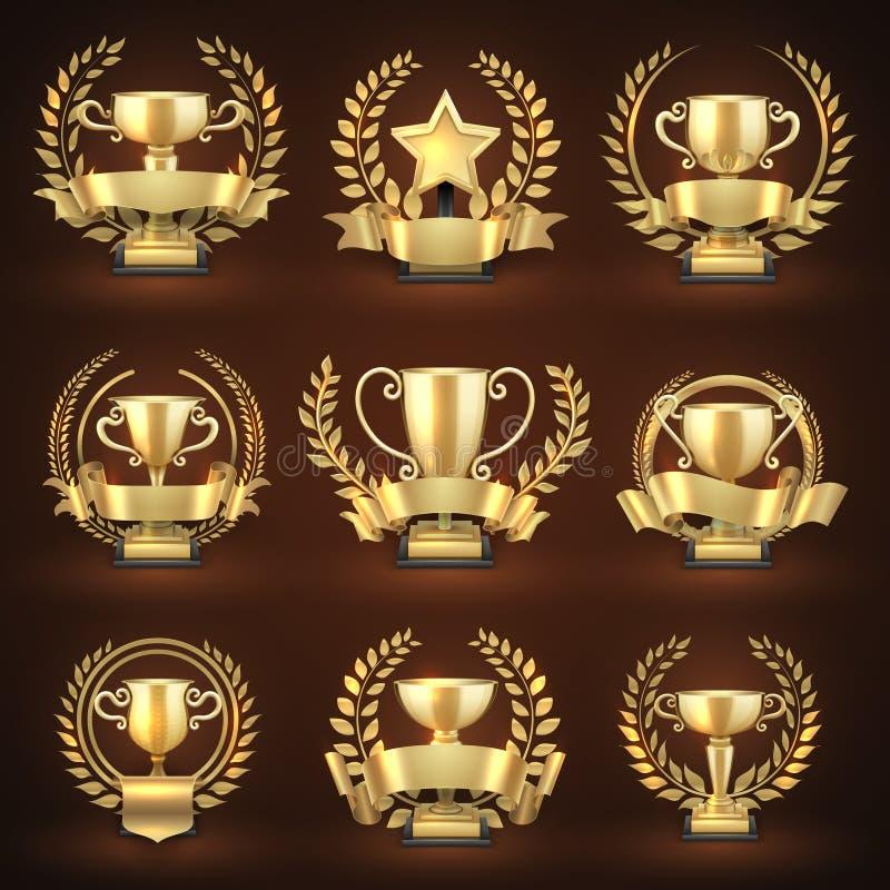 Złote zwycięzcy trofeum filiżanki, nagroda bawją się nagrody z złotymi wiankami i faborkami ilustracja wektor