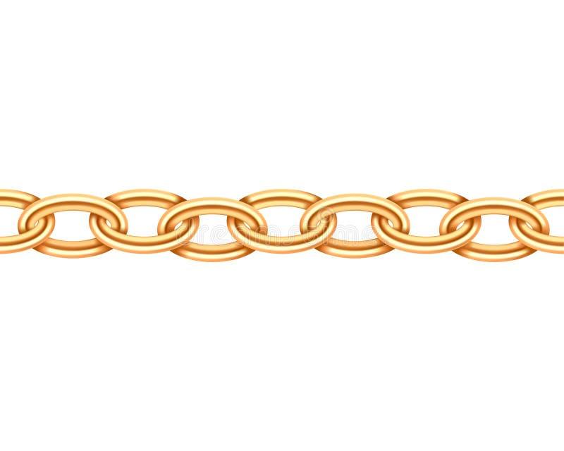 Złotego łańcuchu bezszwowa tekstura Realistyczny złocisty łańcuchu połączenie odizolowywający na białym tle Biżuteria łańcuszek ilustracji