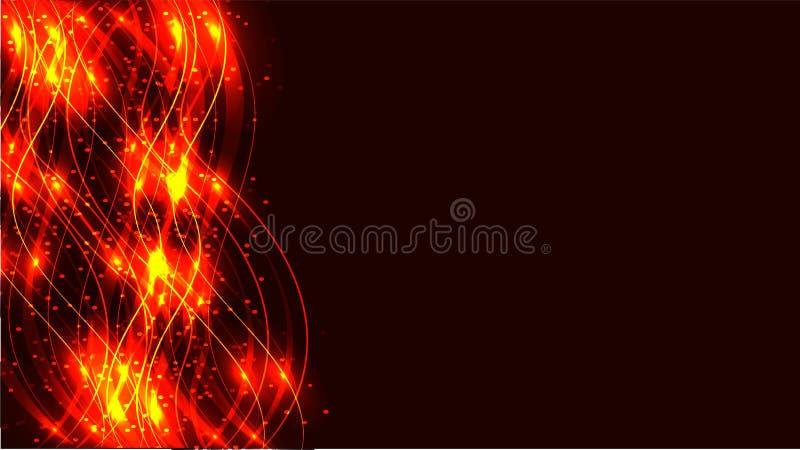 Złotego żółtego fajerwerku przejrzysta abstrakcjonistyczna błyszcząca magiczna pozaziemska magiczna energia wykłada, promienie z  ilustracja wektor