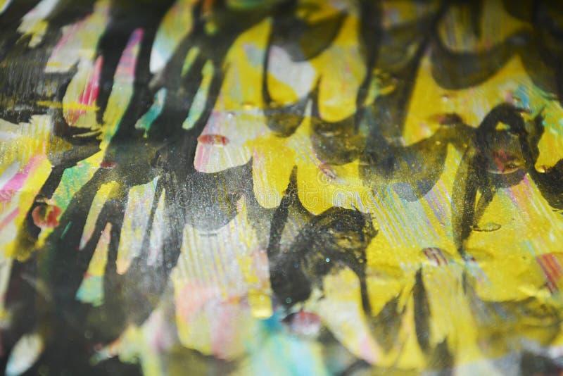 Złotego błękitnego beżu srebra czerni woskowaci kapinosy malują Akwareli farby abstrakta tło obrazy stock
