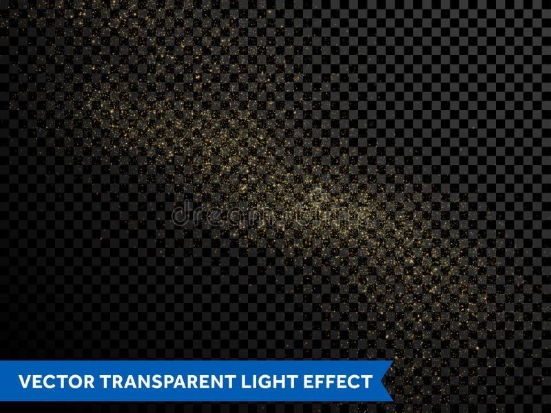 Złotego błyskotliwość gwiazdowego pyłu abstrakcjonistycznego złocistego śladu iskrzaste cząsteczki royalty ilustracja