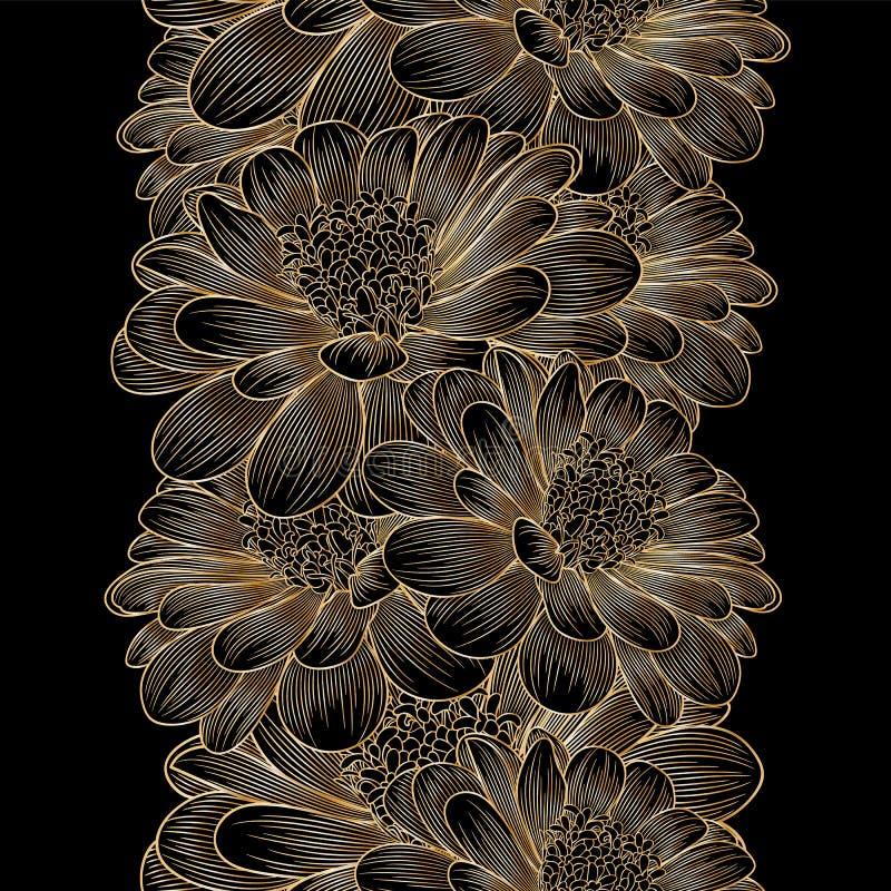 Złotego bezszwowego rysunku kwiecisty tło z kwiatu chamomile ilustracja wektor