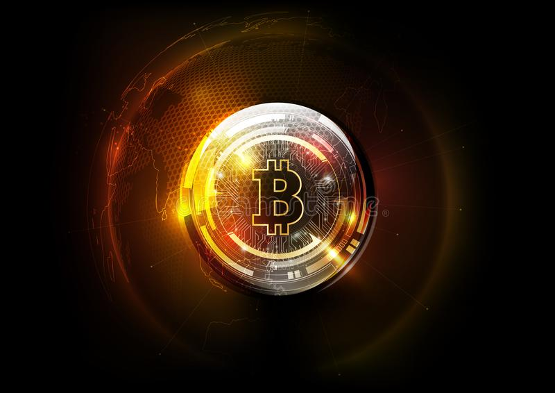 Złotego bitcoin cyfrowa waluta, świat kuli ziemskiej hologram, futurystyczny cyfrowy pieniądze i technologii na całym świecie sie ilustracji
