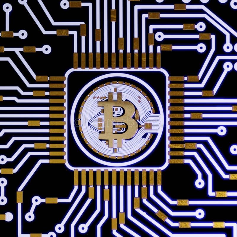 Złotego bitcoin cyfrowa waluta, futurystyczny cyfrowy pieniądze, technologii na całym świecie sieci pojęcie ilustracji