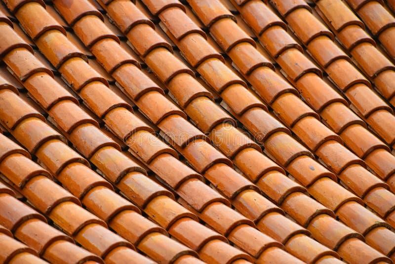 Złotego brown oszklonego Azjatyckiego antyka dachowy taflować obraz royalty free