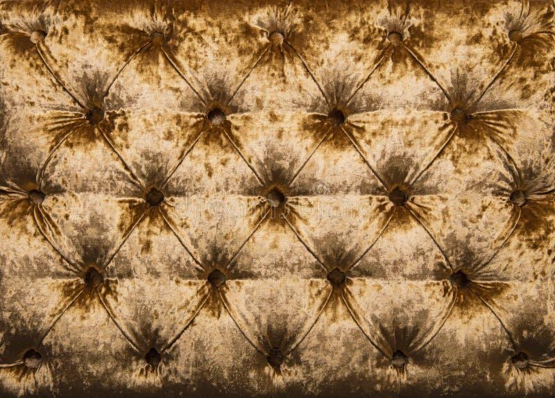Złotego capitone tapicerowania kiciasta aksamitna tekstura obrazy royalty free