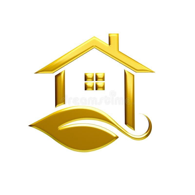 Złotego Eco domu loga Ilustracyjny Graficzny projekt ilustracja wektor