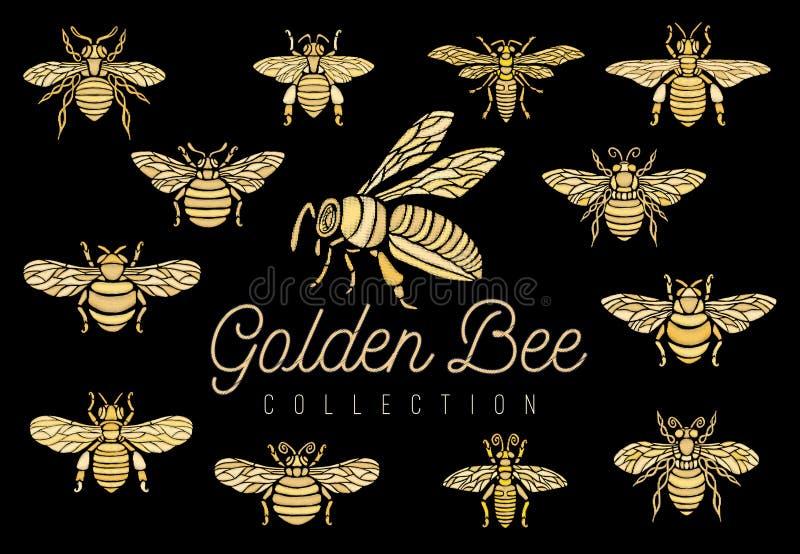 Złotego hafciarskiego łaty pszczoły korony bumblebee osy insekta hafciarskiego królewskiego złota mody t ustalona inkasowa koszul royalty ilustracja