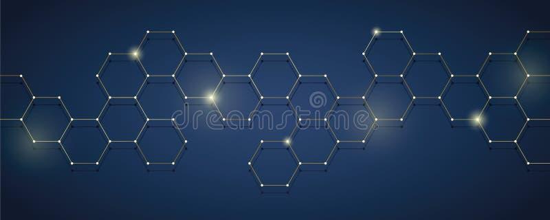 Złotego i błękitnego technicznego honeycomb tła cyfrowa elektronika ilustracji
