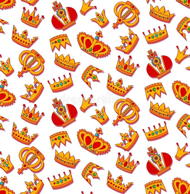 Złotego korony doodle wektoru bezszwowy wzór ilustracji