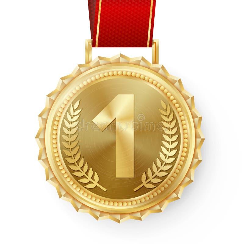 Złotego Medalu wektor Złota 1st miejsce odznaka Sporta wyzwania Gemowa Złota nagroda czerwone wstążki Gałązka Oliwna ilustracji