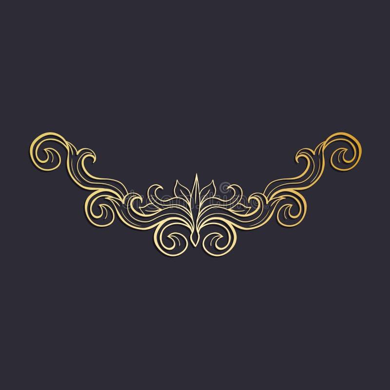 Złotego Odosobnionego headpiece kwiecista dekoracja, ciemny tło ilustracja wektor