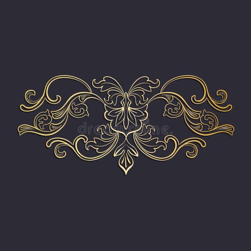 Złotego Odosobnionego headpiece kwiecista dekoracja, ciemny tło ilustracji