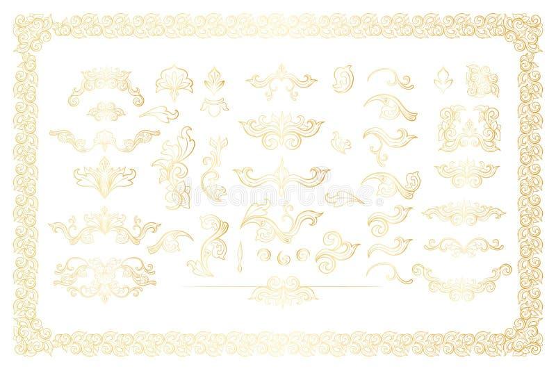 Złotego Odosobnionego headpiece kwieciste dekoracje Inkasowe ilustracja wektor