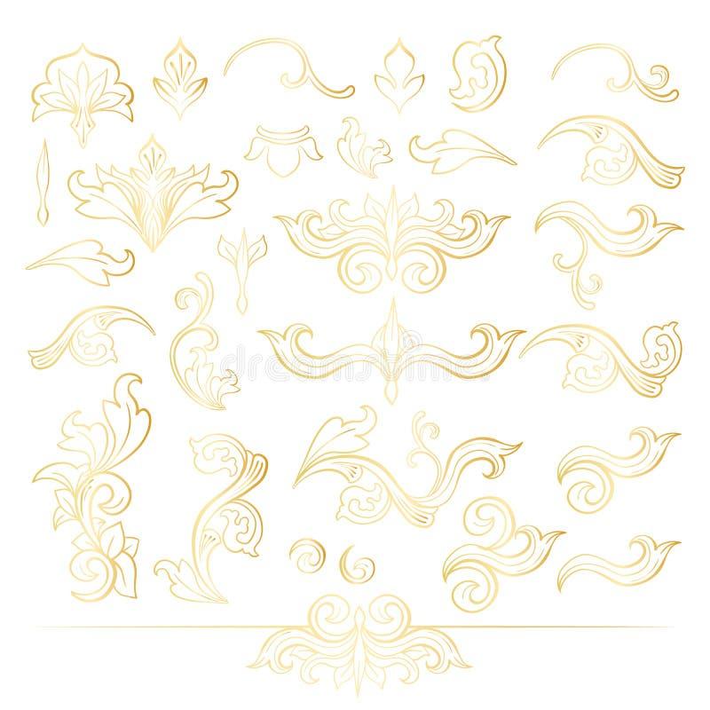 Złotego Odosobnionego headpiece kwieciste dekoracje Inkasowe ilustracji