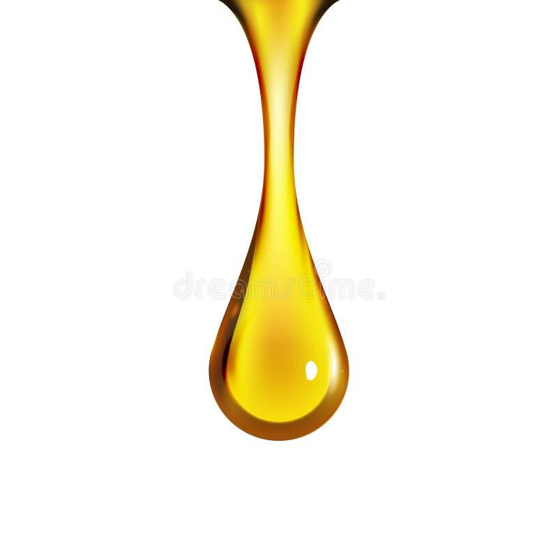 Złotego oleju kropla odizolowywająca na bielu Oliwki lub paliwa złota oleju kropelki pojęcie Ciekły koloru żółtego znak ilustracji