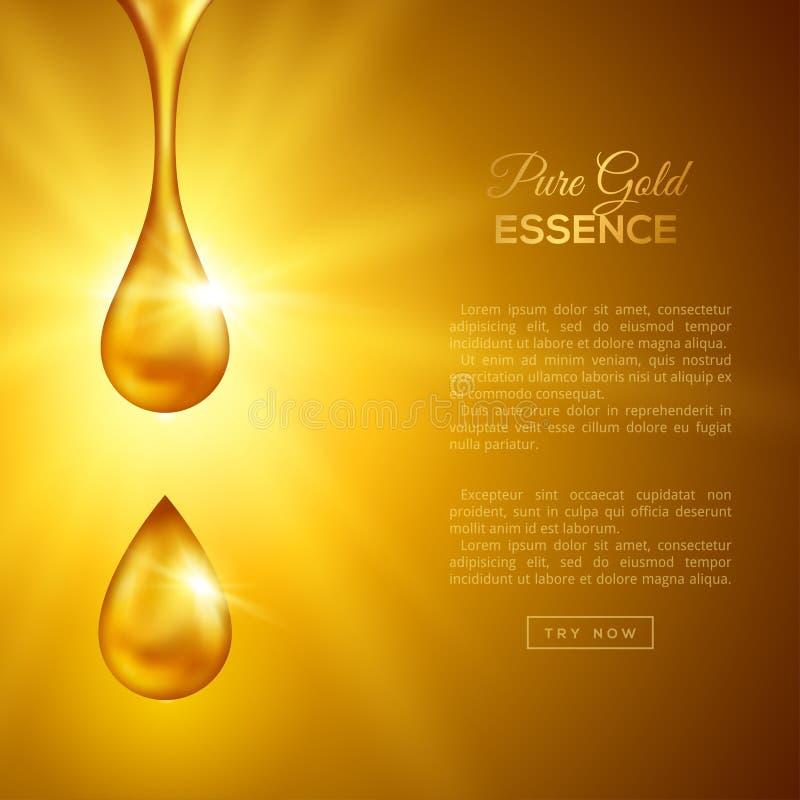 Złotego oleju krople, kolagen esencja royalty ilustracja