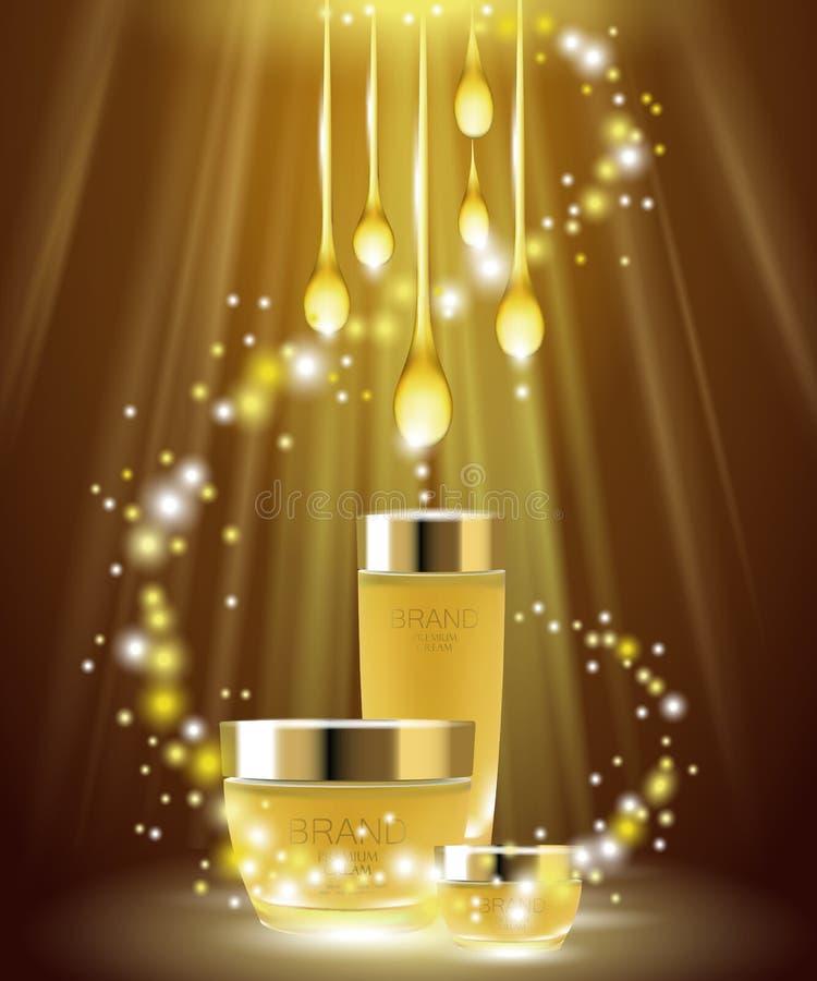 Złotego oleju skóry opieki kosmetyczne reklamy Sztandaru tła szablonu promocyjnego creme złocisty pakunek Błyska lekkiego gatunek royalty ilustracja
