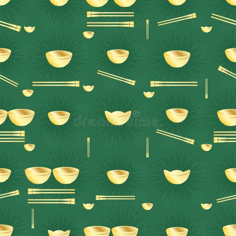 Złotego pieniądze pucharu chopstick bezszwowy wzór royalty ilustracja