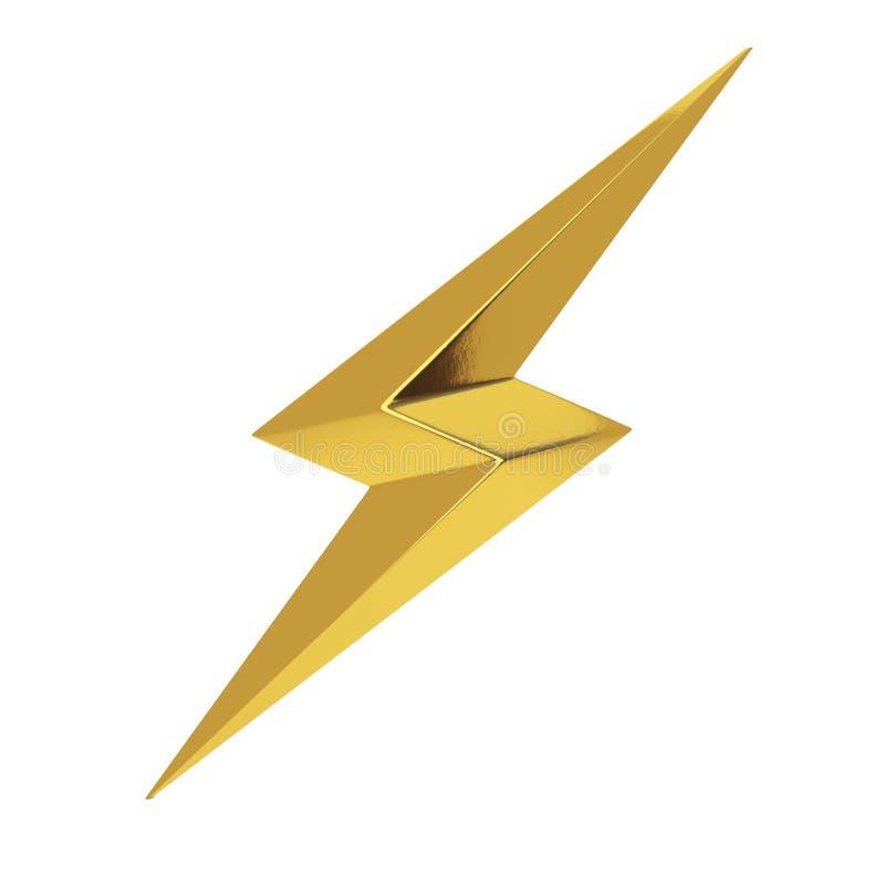 Złotego piorunu Oświetleniowa ikona świadczenia 3 d zdjęcia royalty free