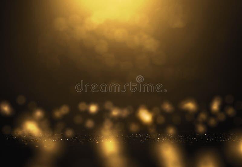 Złotego pyłu abstrakcjonistyczny tło z bokehs dla bożych narodzeń ilustracja wektor