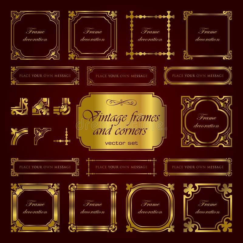 Złotego rocznika kaligraficzne ramy i kąty - wektoru set ilustracji