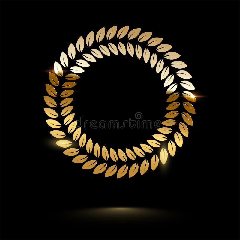 Złotego round błyszczący laurowy wianek odizolowywający na czarnym tle spokojnie redaguje projekt elementów wektora royalty ilustracja