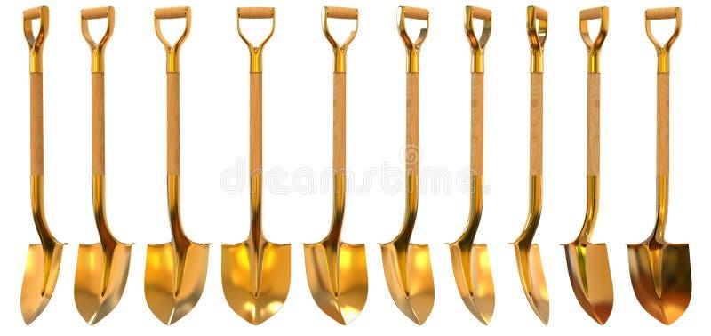Złotej łopaty ustalona foreshortening 3d ilustracja ilustracji