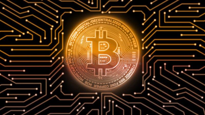 Złotej łuny cyfrowy bitcoin na odosobnionym komputerze drukował obwód deskę Dla crypto rynek wymiany promocji, wiadomość royalty ilustracja