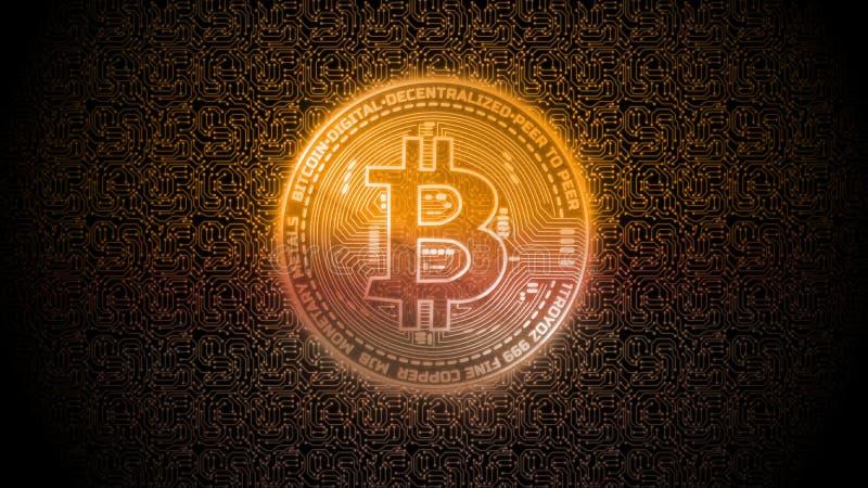 Złotej łuny cyfrowy bitcoin na odosobnionym komputerze drukował obwód deskę Dla crypto rynek wymiany promocji, wiadomość ilustracji