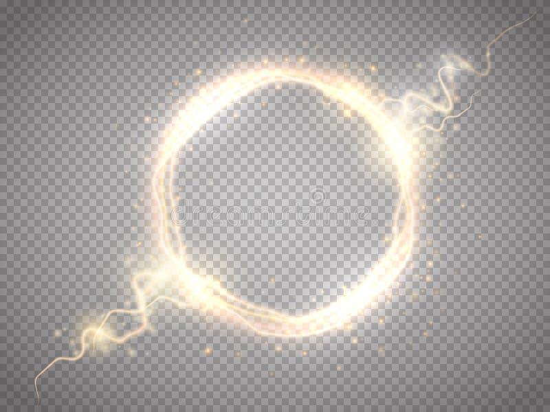 Złotej łuny round rama z elektrycznym rozładowaniem odizolowywającym również zwrócić corel ilustracji wektora ilustracja wektor