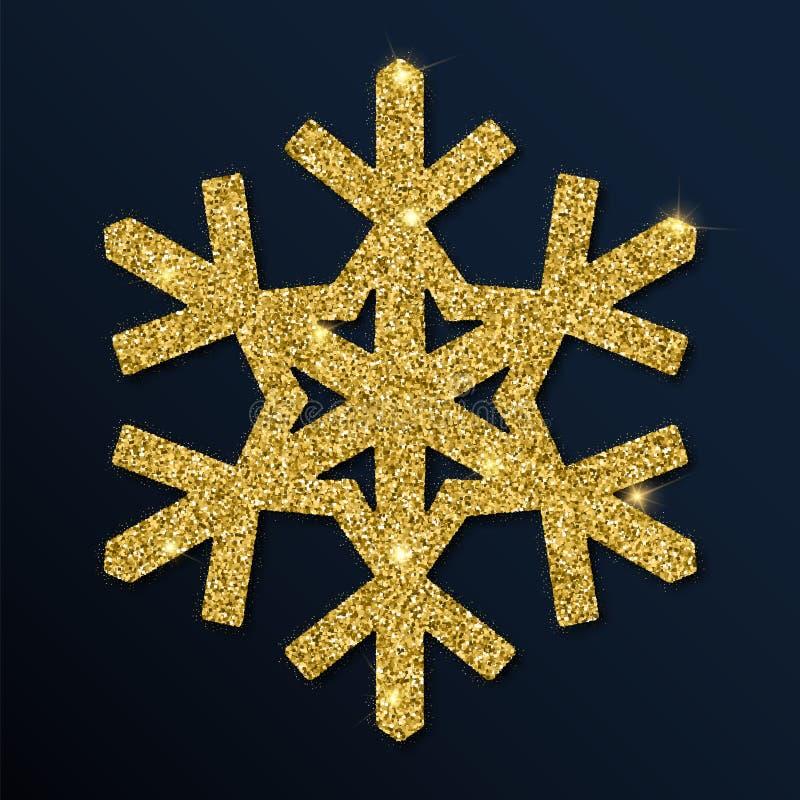 Złotej błyskotliwości błogi płatek śniegu ilustracja wektor