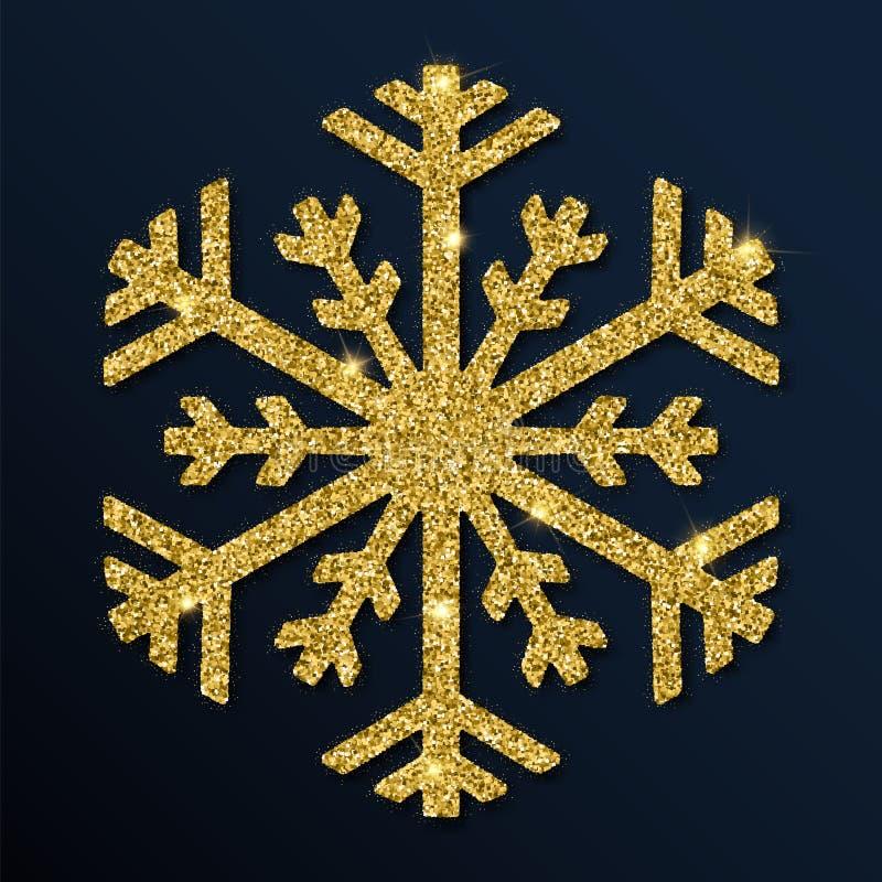 Złotej błyskotliwości boski płatek śniegu ilustracji
