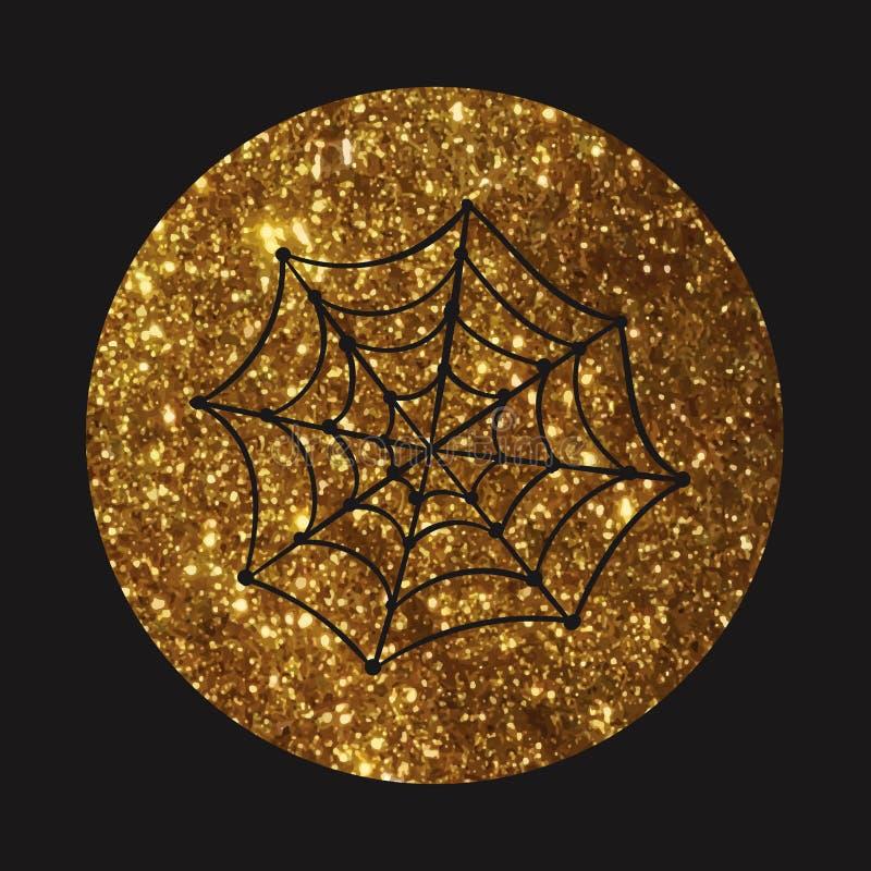 Złotej błyskotliwości sylwetki pająka sieci mieszkania Halloweenowa wakacyjna ikona royalty ilustracja
