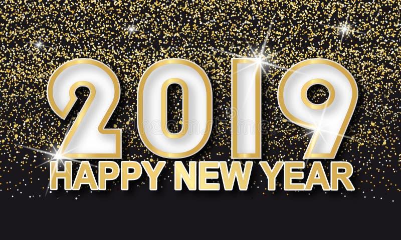 Złotej błyskotliwości Szczęśliwy nowy rok 2019 Karciany - Wektorowa ilustracja Na Czarnym tle ilustracja wektor
