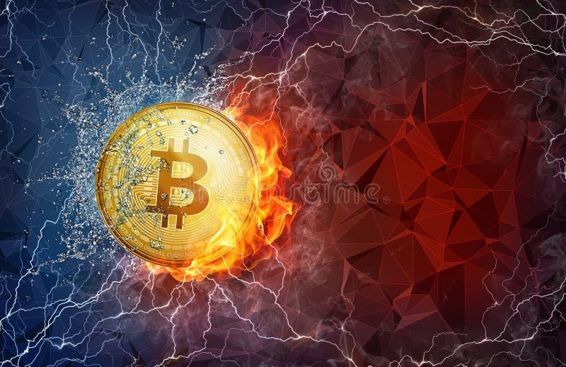 Złotej bitcoin monety ciężki rozwidlenie w pożarniczych płomienia, błyskawicy i wody pluśnięciach, royalty ilustracja