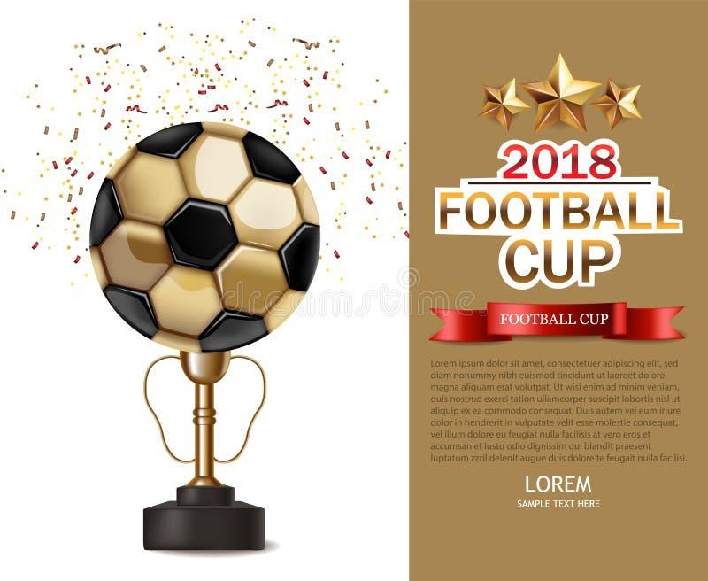 Złotej filiżanki i piłki nożnej piłki wektor realistyczny Futbolowi finały Turniejowi Egzaminu próbnego projekta 3d ulotki up sza ilustracji