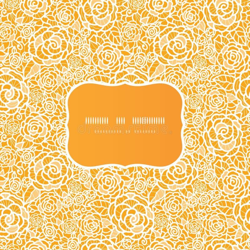 Złotej Koronkowej Róży Ramy Bezszwowy Wzór Obraz Stock