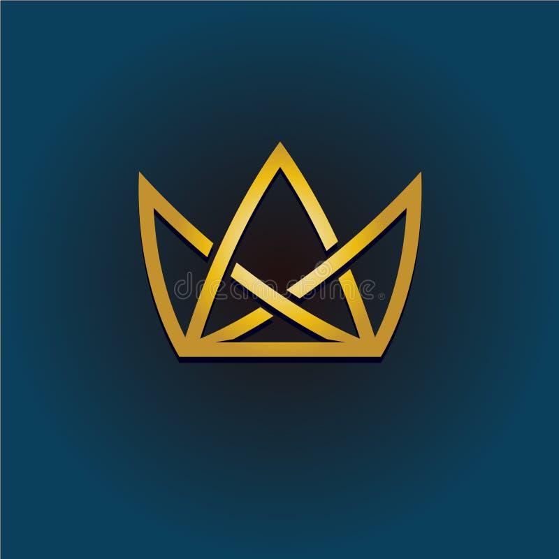 Złotej korony liniowy logo Prosta stylowa korony ilustracja ilustracja wektor