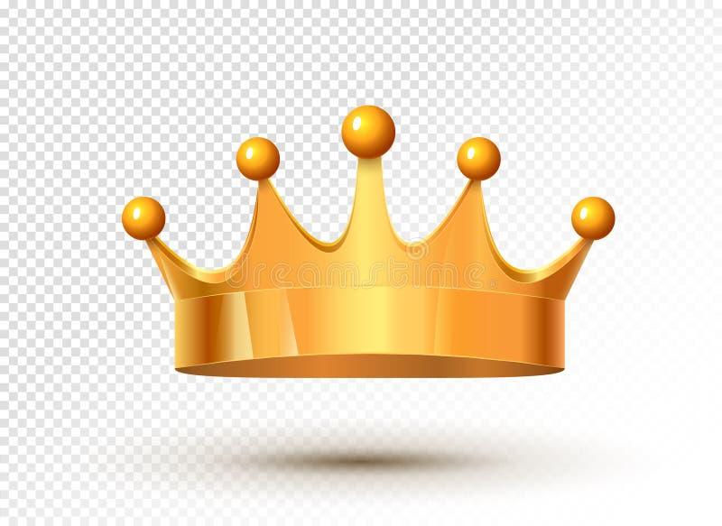 Złotej królewiątko korony królewski luksusowy odosobniony średniowieczny monarchiczny skarb Metal korony złocista władza royalty ilustracja