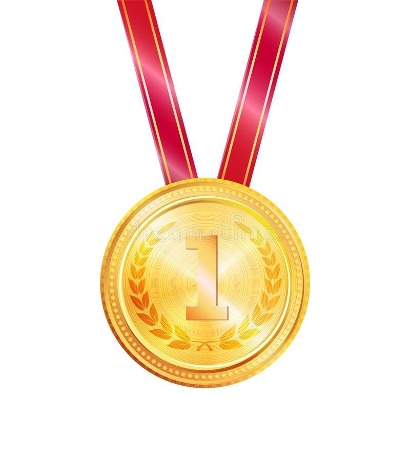 Złotej medal nagrody Kolorowa Wektorowa ilustracja royalty ilustracja