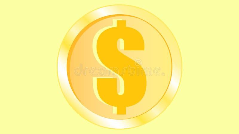 Złotej pięknej błyszczącej metalu żelaza pomarańcze żółtej monety wolumetryczni realistyczni dolarowi monies round ilustracja wektor