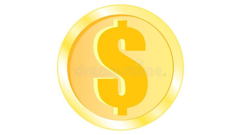 Złotej pięknej błyszczącej metalu żelaza pomarańcze żółtej monety wolumetryczni realistyczni dolarowi monies round royalty ilustracja