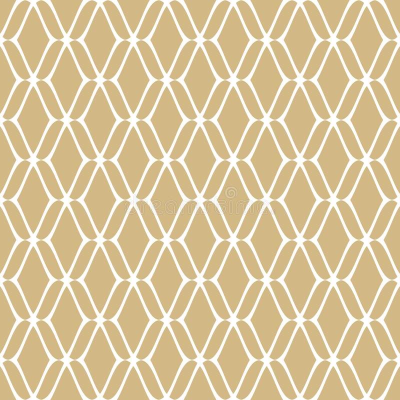 Złotej siatki bezszwowy wzór Subtelny wektorowy złoto i biały luksusowy tło royalty ilustracja