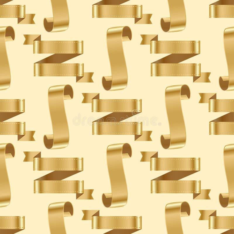 Złotej tasiemkowej taśma sztandaru flaga łęku klasycznej glansowanej ślimacznicy tła wektoru bezszwowa deseniowa ilustracja royalty ilustracja