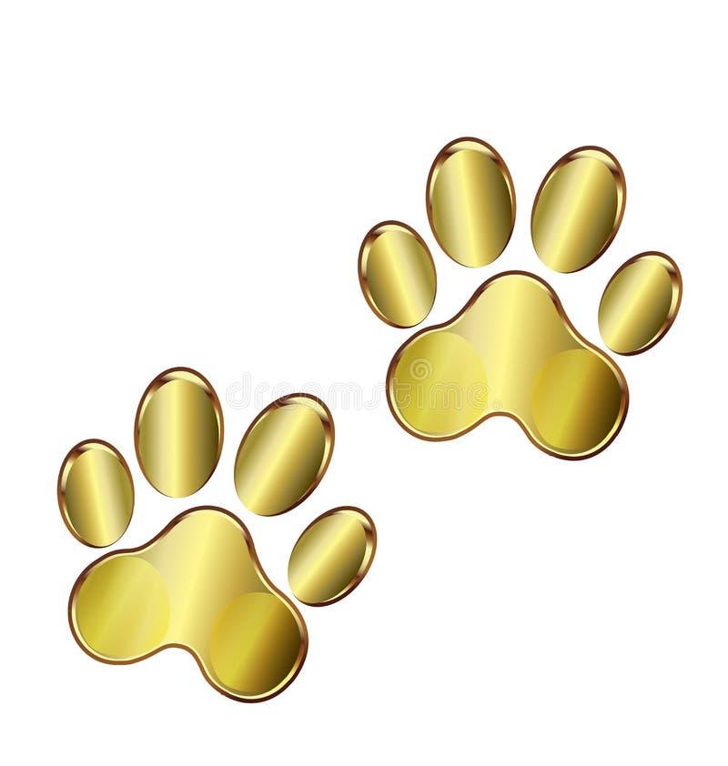 Złoto łap psi logo royalty ilustracja