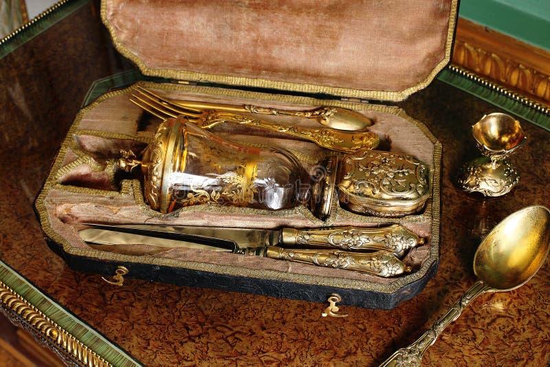 Złoto łomota set przy Tsarskoye Selo Pushkin pałac zdjęcie stock