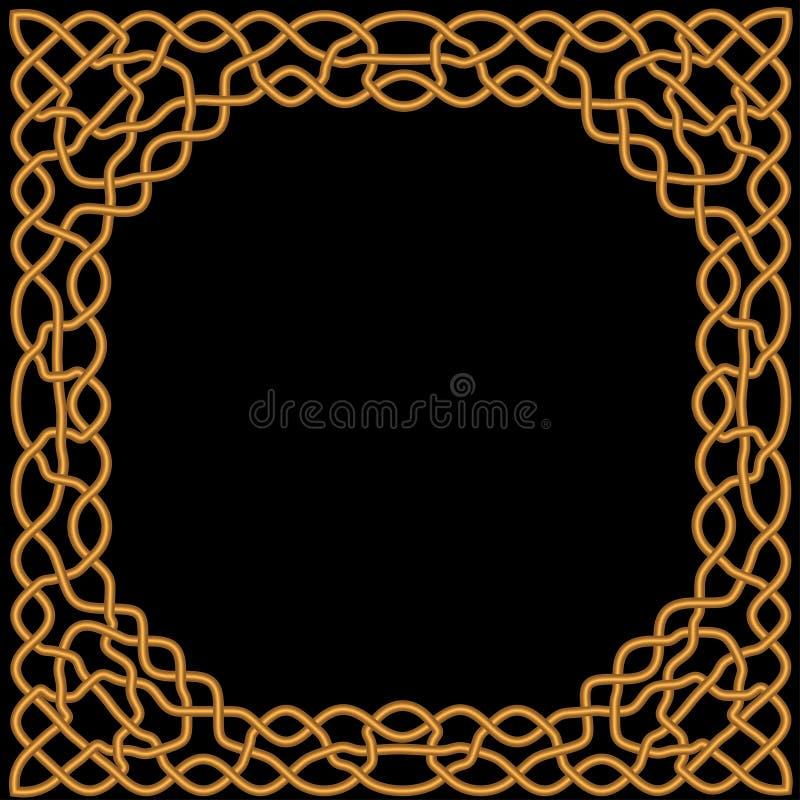Złoto, żółty ornament na czarnym tle w celcie i język arabski, ilustracja wektor