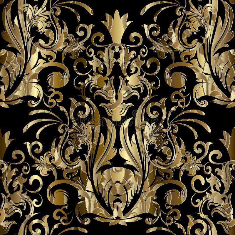 Złoto adamaszkowy wektorowy bezszwowy wzór Wektorowy kwiecisty czarny backgro royalty ilustracja
